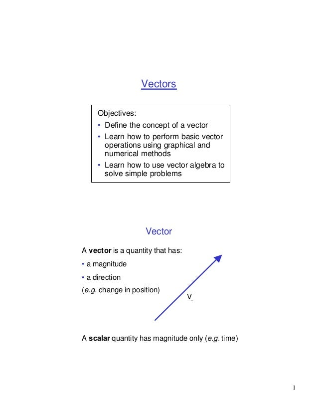 Vectors     Objectives:     • Define the concept of a vector     • Learn how to perform basic vector       operations usin...