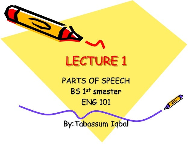LECTURE 1 PARTS OF SPEECH BS 1st smester ENG 101 By:Tabassum Iqbal