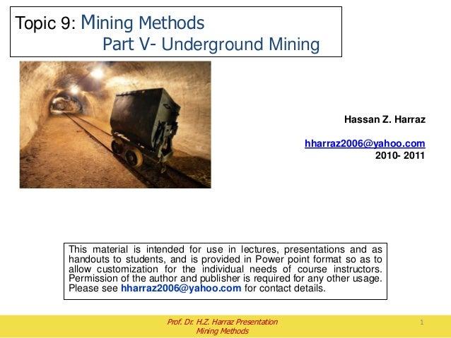 Lecture 4: Underground Mining