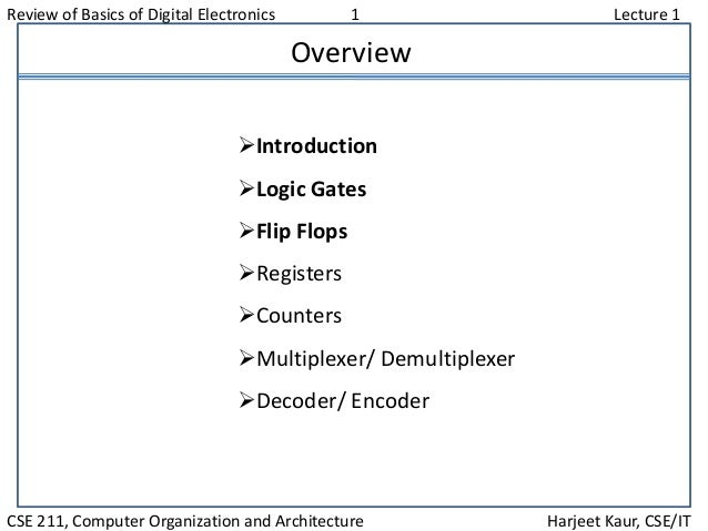 Review of Basics of Digital Electronics 1 Lecture 1 CSE 211, Computer Organization and Architecture Harjeet Kaur, CSE/IT O...