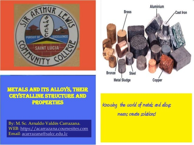 Metals and Its Alloys, their crystalline structure and properties  By: M. Sc. Arnaldo Valdés Carrazana. WEB: https://acarr...
