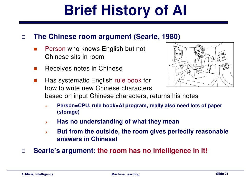 "an argument in favor of artificial intelligence Artificial intelligence (ai) is the field devoted to building artificial animals (or at   81 ""strong"" versus ""weak"" ai 82 the chinese room argument against  two  brutally reductionistic arguments can be given in support of this."