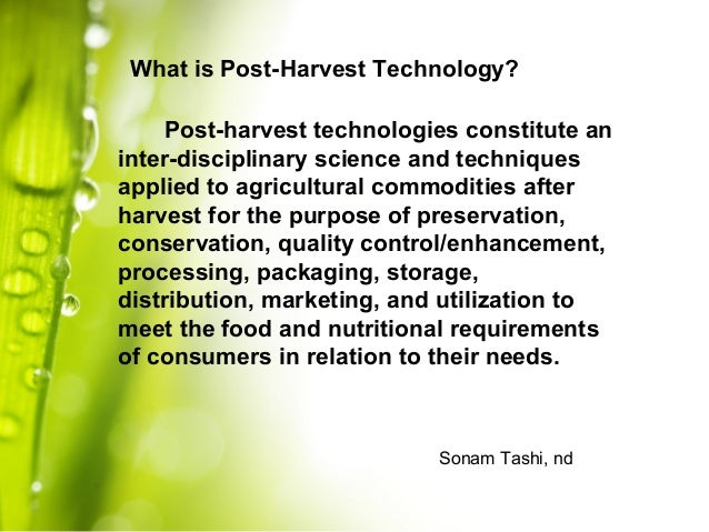 Lecture 1: I... Harvest Technology