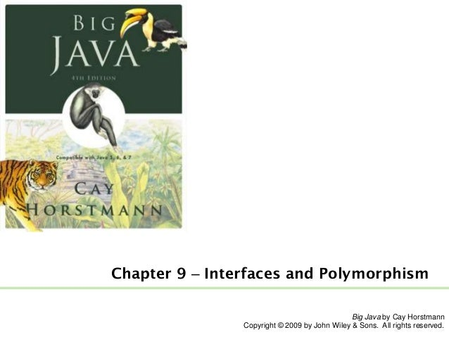 Chapter 9 – Interfaces and Polymorphism Big Java by Cay Horstmann Copyright © 2009 by John Wiley & Sons. All rights reserv...