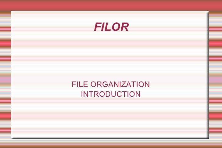 FILOR FILE ORGANIZATION INTRODUCTION