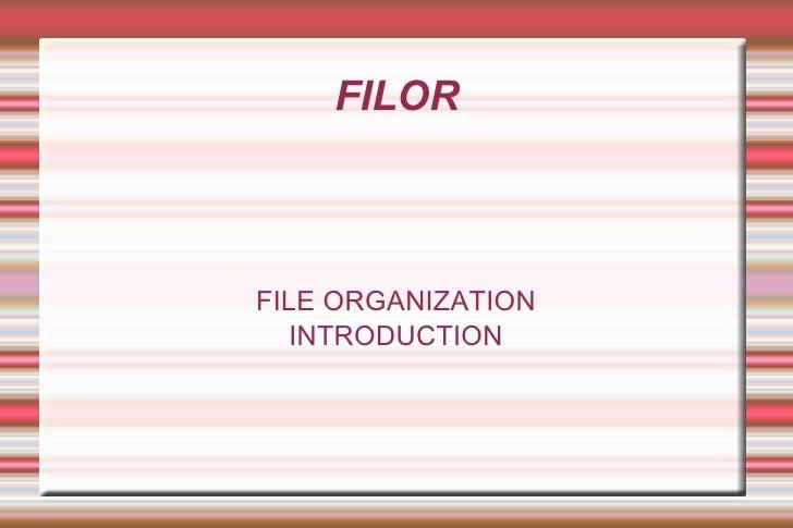 FILOR FILE ORGANIZATION INTRODUCTION