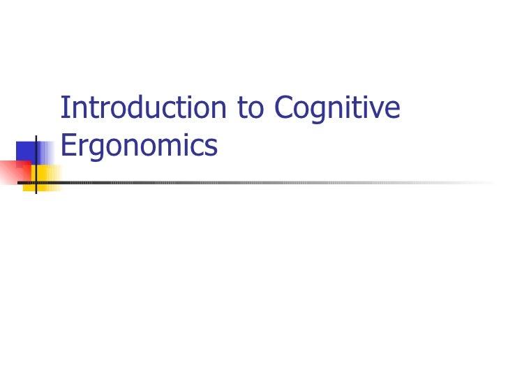 Lecture1 Intro To Cog Ergo