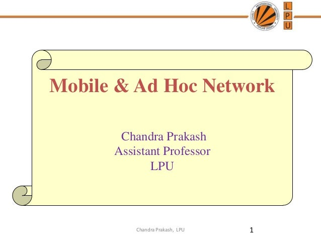 Lecture 1  mobile and adhoc network- introduction