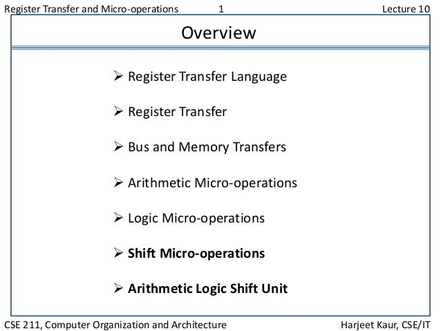 Register Transfer and Micro-operations 1 Lecture 10 CSE 211, Computer Organization and Architecture Harjeet Kaur, CSE/IT O...