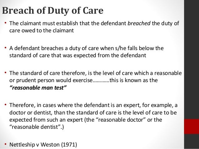 negligence duty of care essay To establish a claim in negligence, the claimant must show that the defendant owed them a duty of care, which means the claimant must have been able to reasonably foresee that his actions would be likely to injure the defendant, there was a sufficient proximity of relationship between the claimant and defendant, and that it would be.