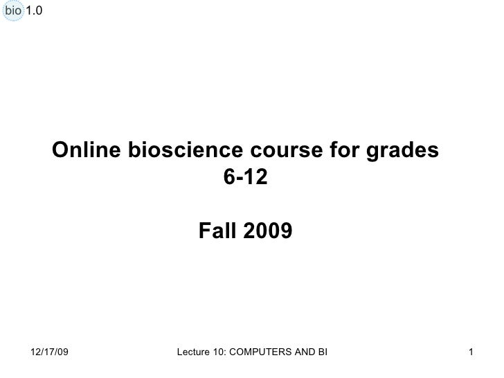 Lecture 10 Computers In Biology