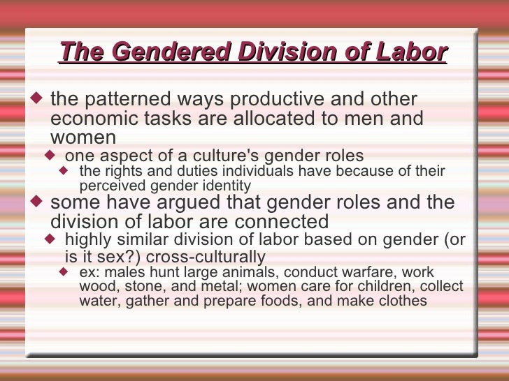 gender division The gender differences, which lead to gender inequality in the division of labour, and presented as natural by patriarchy and unequal gender order has been normalised and legitimated by science, medicine and popular culture (raymond, 1980.