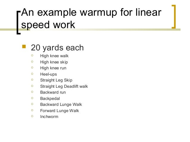 Dynamic warmup considerations for sport
