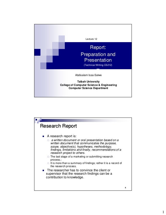 Lecture 12                                  Report:                              Preparation and                          ...