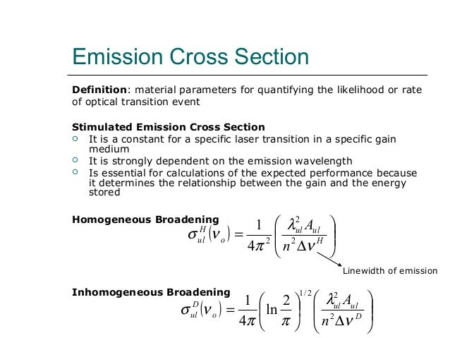 Stimulated Emission Cross Section Emission Cross Section