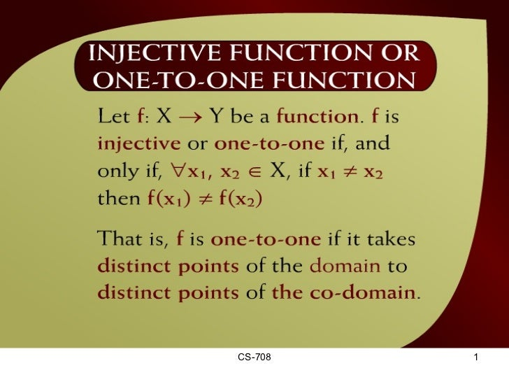 Injective Function or One-To-One Function – (16 - 2)