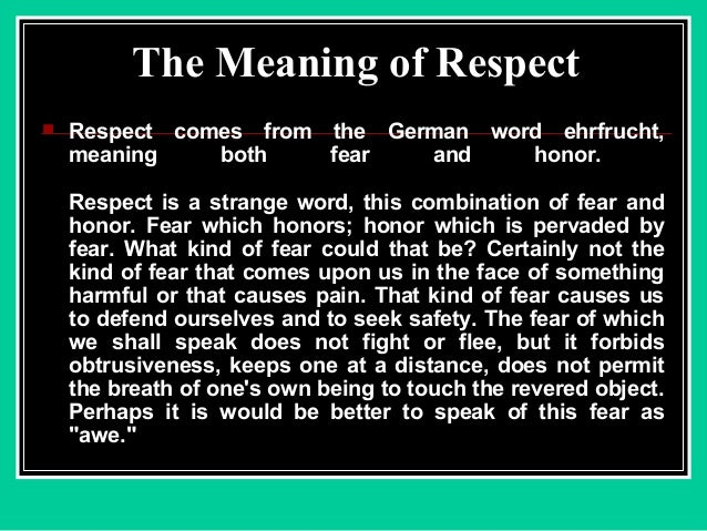 respect definition for essay