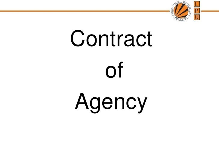 Contract<br /> of <br />Agency<br />