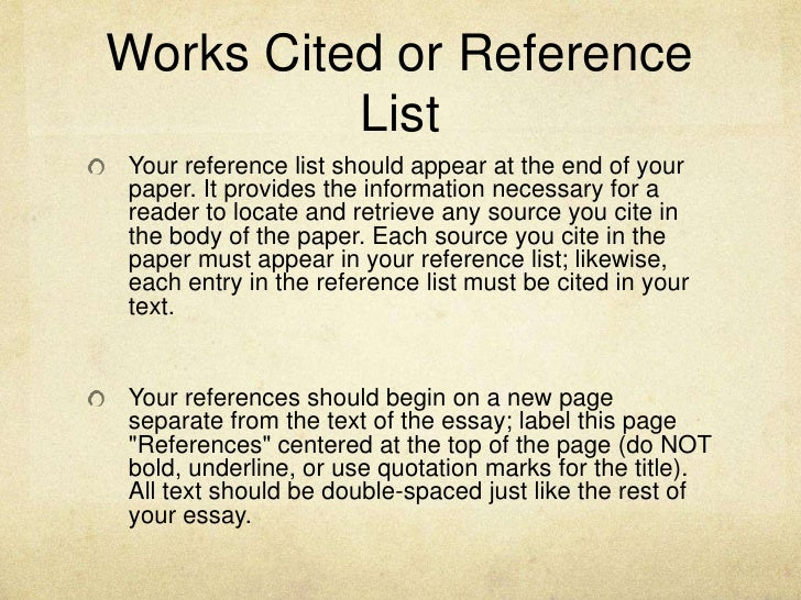 Academic essay reference list