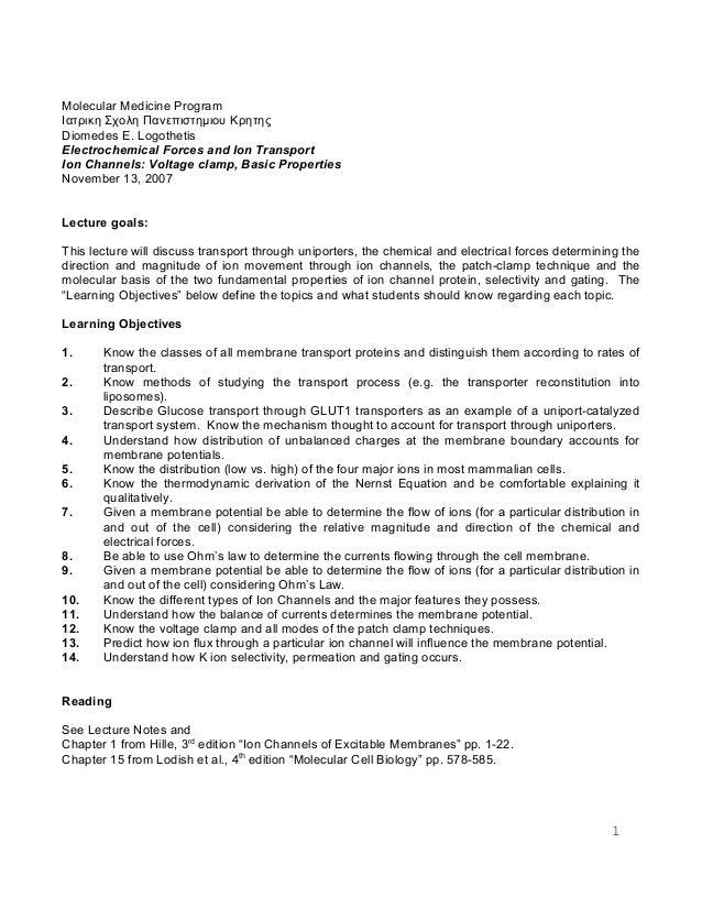 Molecular Medicine Program Ιατρικη Σχολη Πανεπιστημιου Κρητης Diomedes E. Logothetis Electrochemical Forces and Ion Transp...