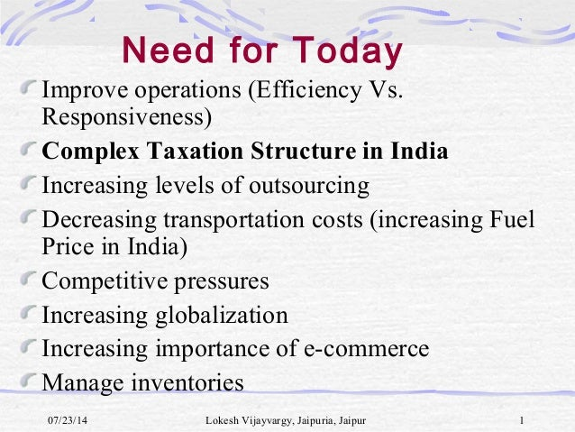 Improve operations (Efficiency Vs. Responsiveness) Complex Taxation Structure in India Increasing levels of outsourcing De...