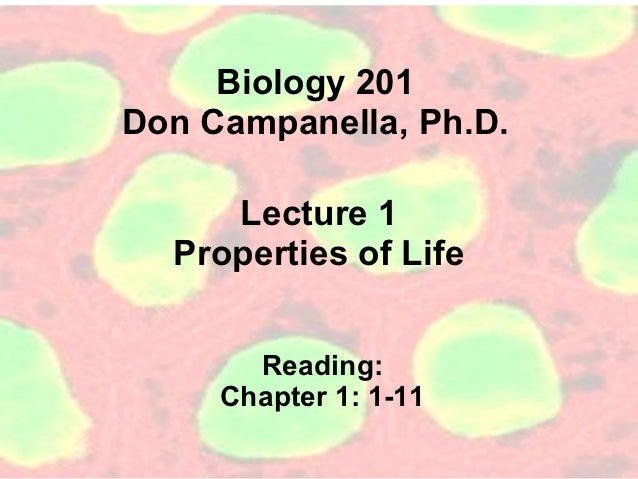 Biology 201Don Campanella, Ph.D.     Lecture 1  Properties of Life       Reading:     Chapter 1: 1-11
