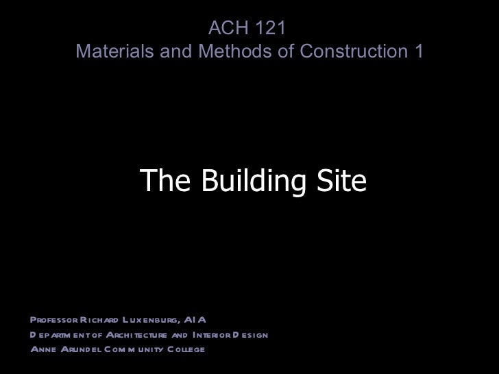 Lecture 1 site analysis