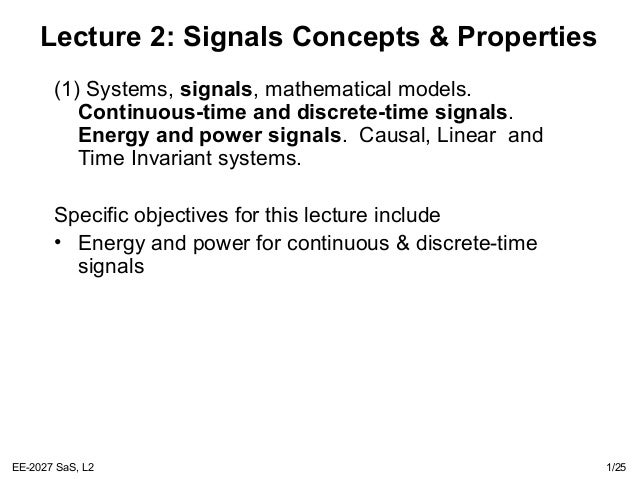 Lecture2 Signal and Systems