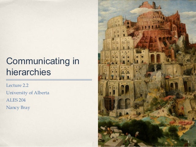 Communicating inhierarchiesLecture 2.2University of AlbertaALES 204Nancy Bray                        1
