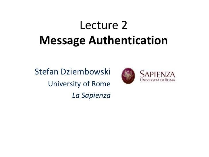 Lecture 2   Message Authentication