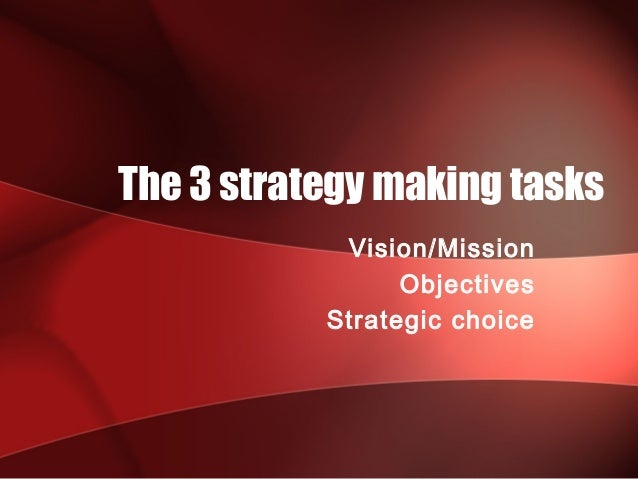 The 3 strategy making tasks            Vision/Mission                 Objectives           Strategic choice