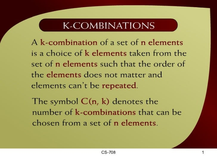 K-Combinations – (31 – 2a)