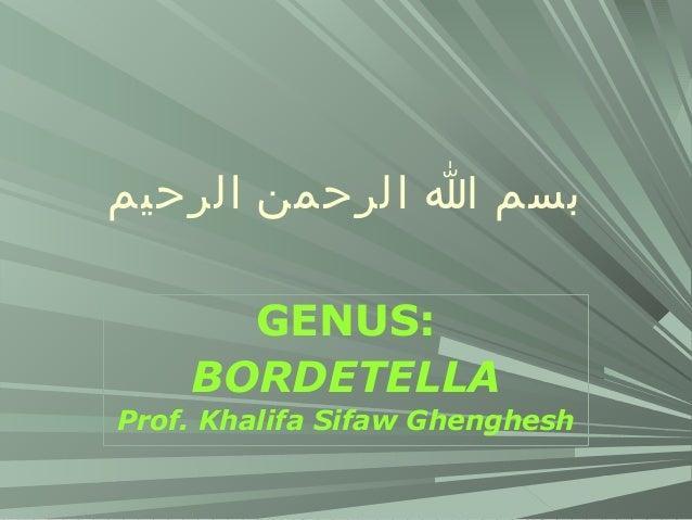 بسم ا الرحمن الرحيم GENUS: BORDETELLA Prof. Khalifa Sifaw Ghenghesh