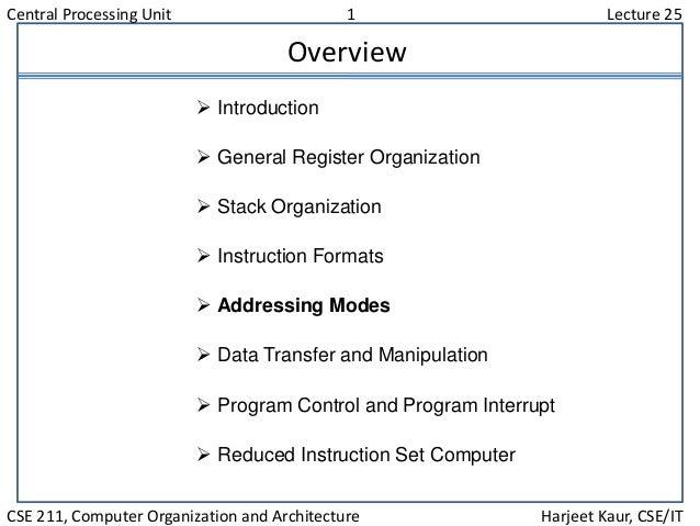 Central Processing Unit 1 Lecture 25 CSE 211, Computer Organization and Architecture Harjeet Kaur, CSE/IT Overview  Intro...