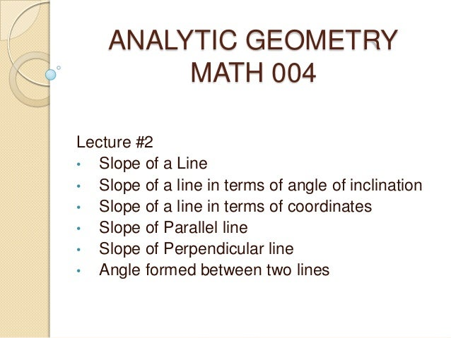 Lecture #2 analytic geometry