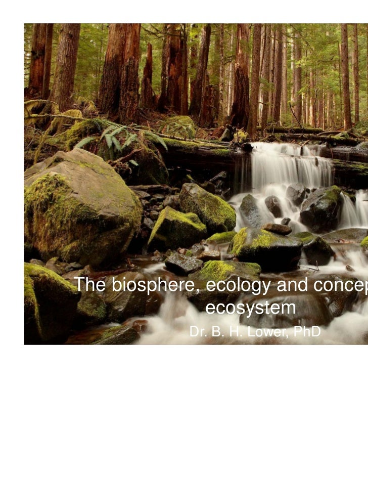 The biosphere, ecology and concept of an               ecosystem             Dr. B. H. Lower, PhD