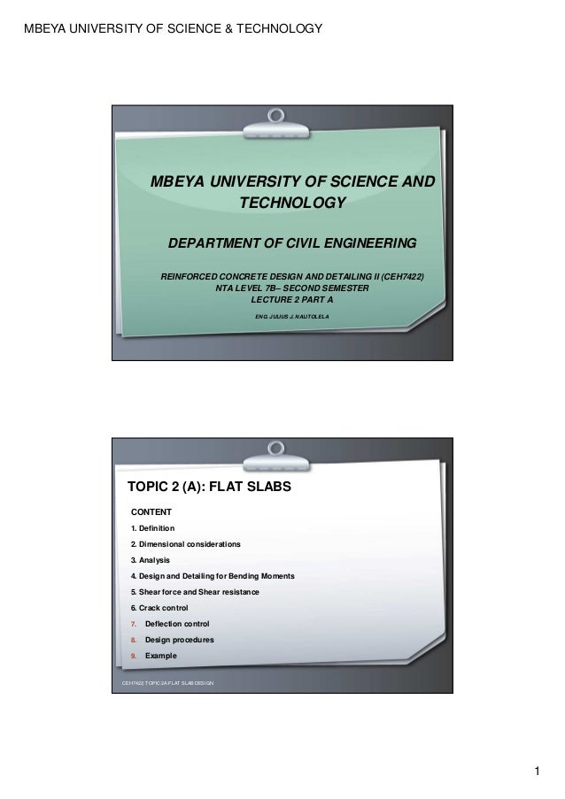MBEYA UNIVERSITY OF SCIENCE & TECHNOLOGY 1 MBEYA UNIVERSITY OF SCIENCE AND TECHNOLOGY DEPARTMENT OF CIVIL ENGINEERING REIN...