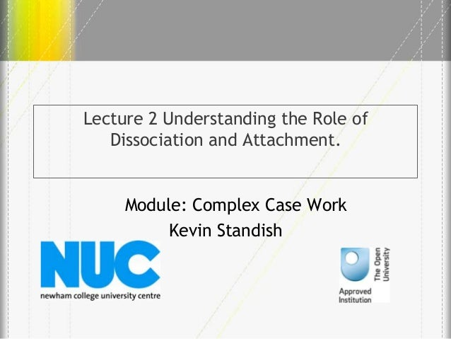 Lecture 2 Understanding the Role of Dissociation and Attachment.  Module: Complex Case Work Kevin Standish