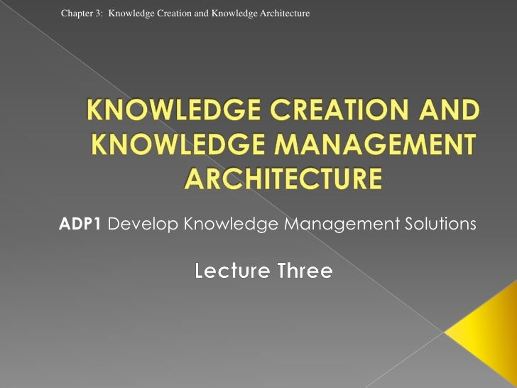 Chapter 3: Knowledge Creation and Knowledge ArchitectureADP1 Develop Knowledge Management Solutions