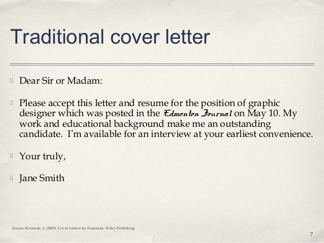 cover letter dear sir or madam