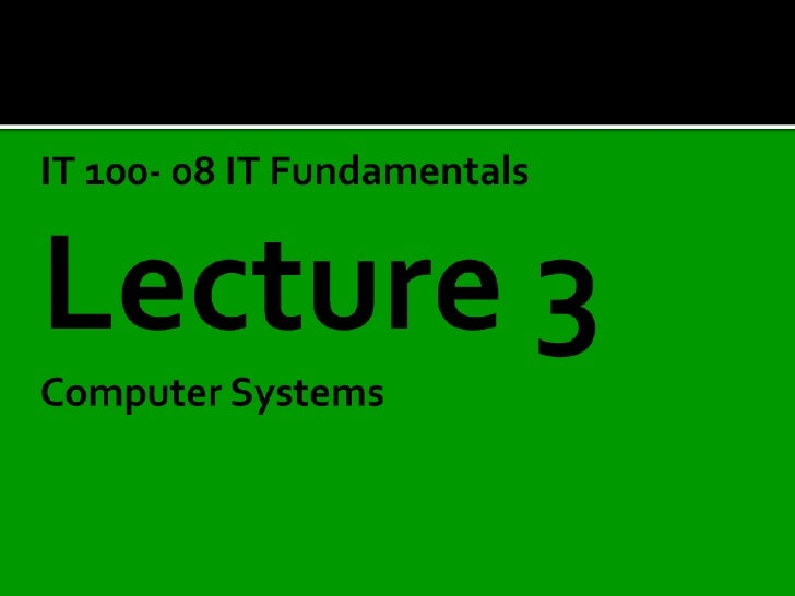 Lecture3  computer systems