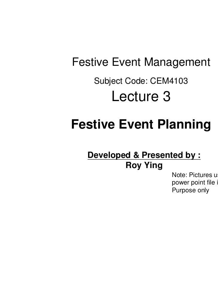 HKBU Lecture 3 -  festive event planning