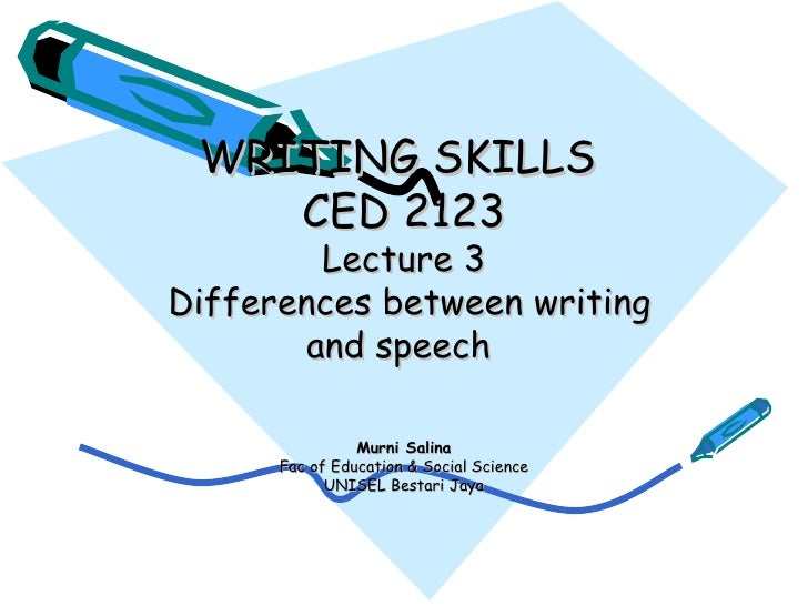 Lecture 3 Differences writing&speech