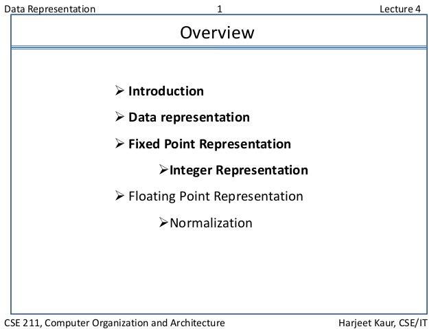 Data Representation 1 Lecture 4 CSE 211, Computer Organization and Architecture Harjeet Kaur, CSE/IT Overview  Introducti...