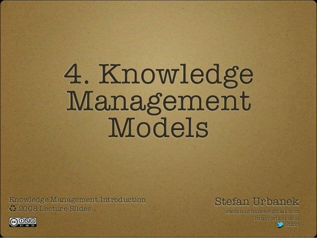 Knowledge Management Lecture 4: Models