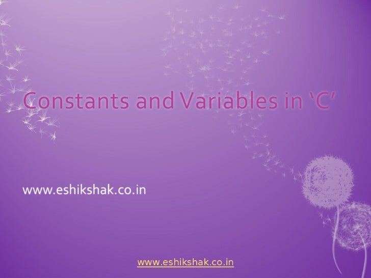 Lecture 4 constants_variables