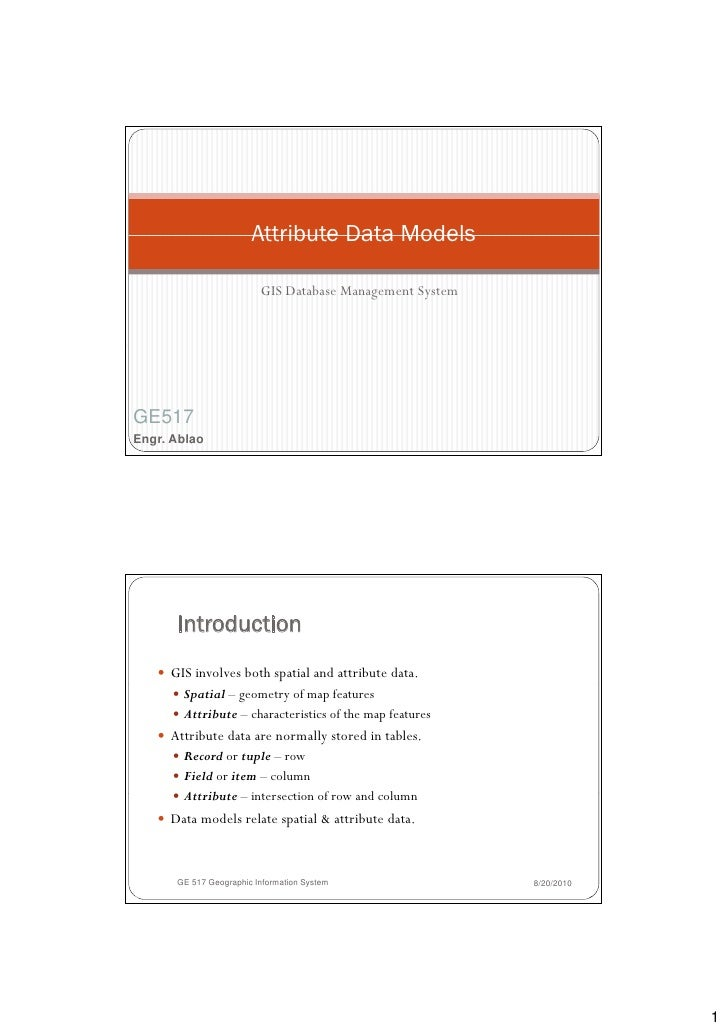 Attribute Data Models                           GIS Database Management System     GE517 Engr. Ablao           Introductio...