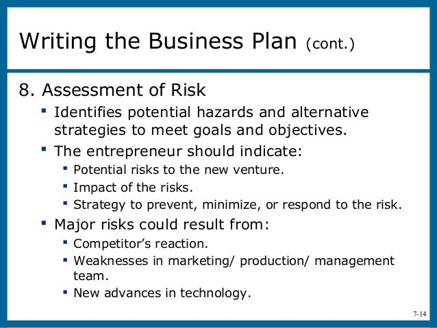 Assessment Of Risk In Business Plan