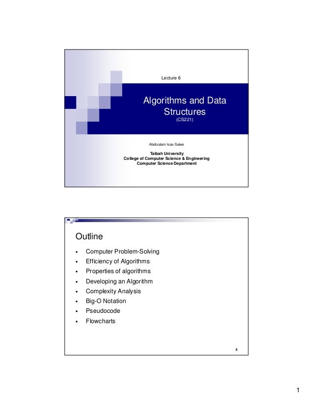 Lecture 6                           Algorithms and Data                                Structures                         ...