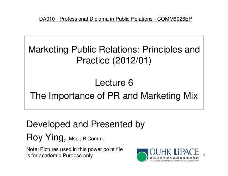 DA010 - Professional Diploma in Public Relations - COMM6026EPMarketing Public Relations: Principles and           Practice...